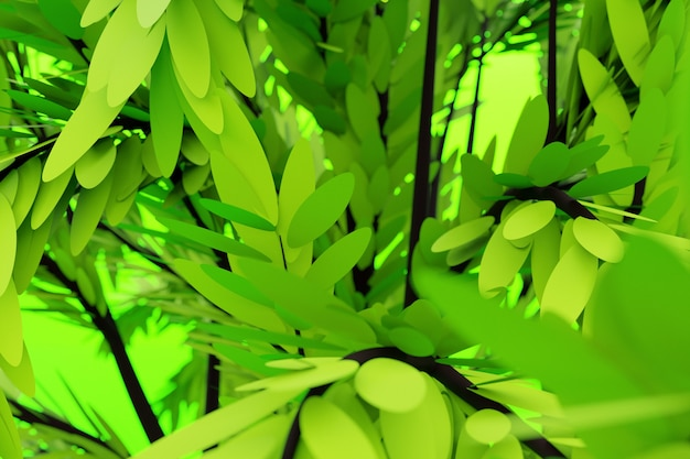 3d illustration  close up of realistic green decorative tree isolated on  green background. stylized deciduous tree