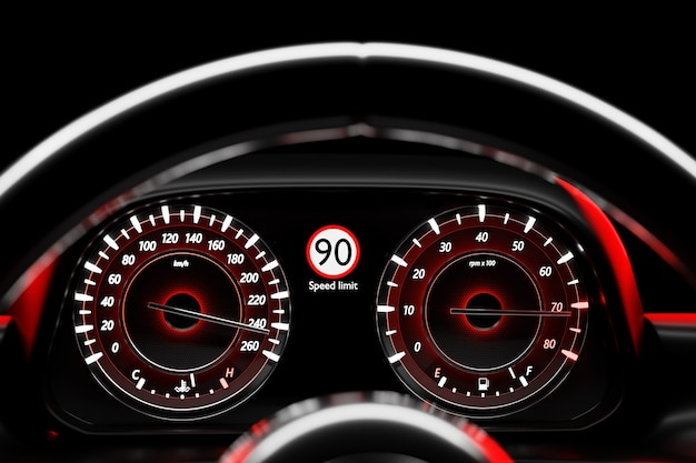 3d illustration close up  speedometer needle shows a maximum speed of 220 km  h