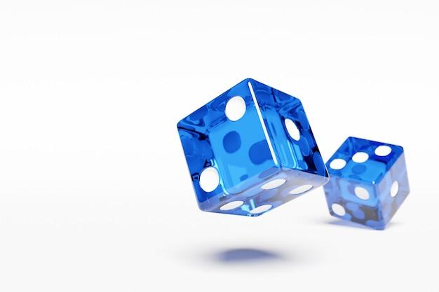 白い背景の上の青いダイスのペアの3dイラストのクローズアップ。飛行中の青いサイコロ。カジノギャンブル。