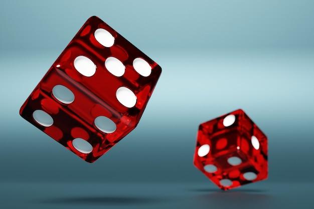 青い背景の上の赤いダイスのペアの3dイラストのクローズアップ。飛行中の赤いサイコロ。カジノギャンブル。