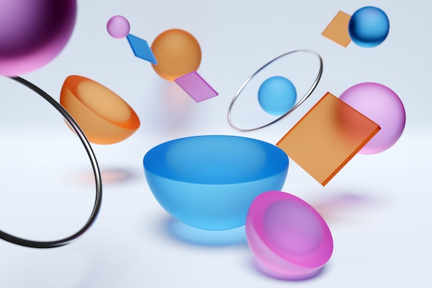 3d illustration of a colorful circle podium stand on the background of a geometric composition.