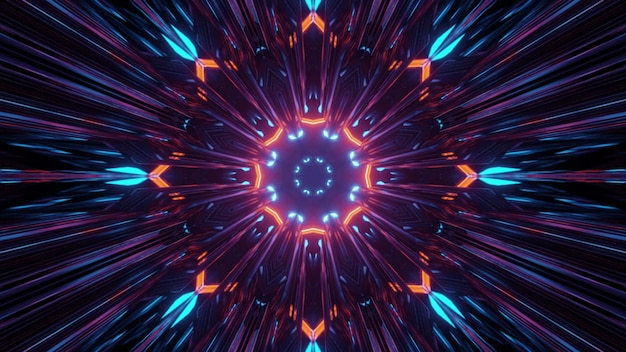 3d illustration of colorful fractal flower shaped pattern with neon light as abstract background Premium Photo