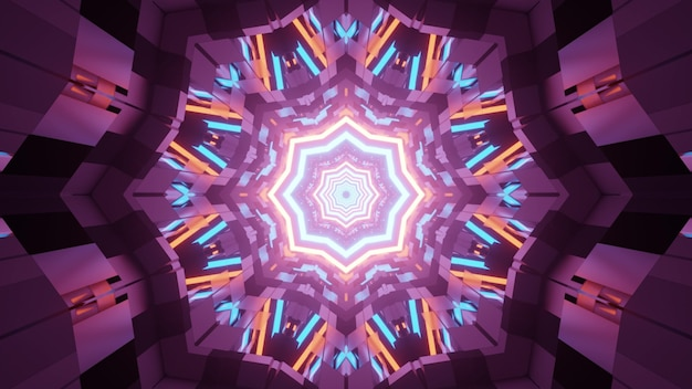 3d illustration of colorful fractal kaleidoscope pattern with neon lights in darkness as abstract