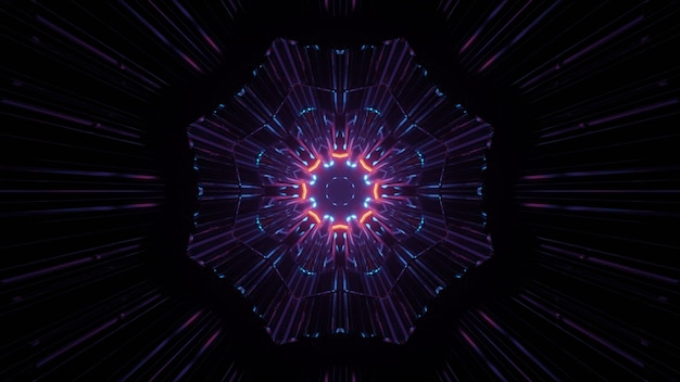 3d illustration of colorful looping kaleidoscope with neon lights in dark tunnel as abstract background