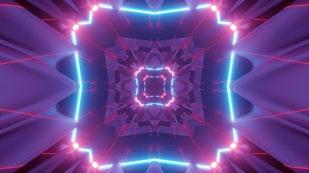 3d illustration of colorful neon tunnel