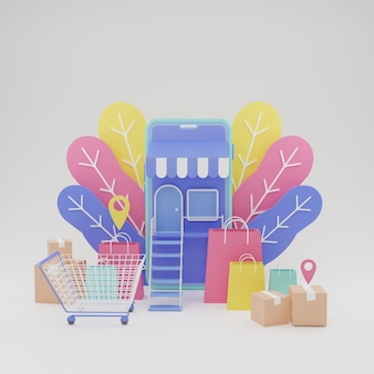 3d illustration colorful smartphone store online shop ecommerce high quality