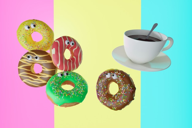 3d 그림입니다. 다채로운 달콤한 도넛과 흰색 커피 한잔