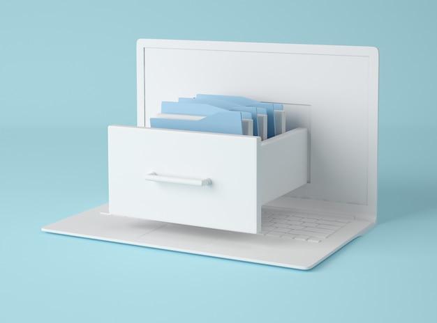 3dイラストレーション。フォルダーとコンピューターのラップトップとファイルキャビネット。
