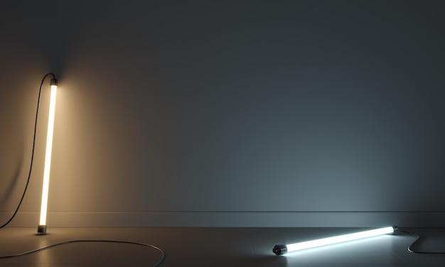 3d 그림입니다. 개념 추상화 벽 램프는 차갑고 따뜻합니다. 배경 인테리어