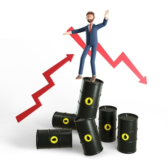 3d illustration concept of glut and instability in the world oil market.