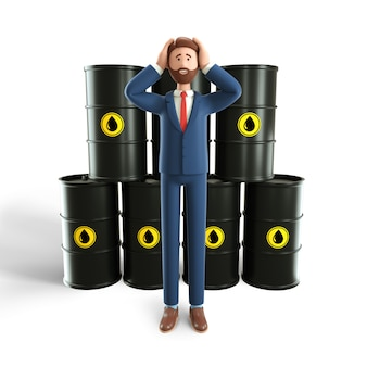 3d illustration concept of glut in oil market. disappointed businessman with huge oil reserve.
