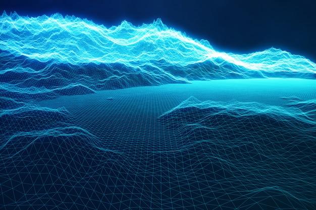 クラウドコンピューティングの3 dイラストレーションコンセプトインターネット接続。サイバースペース風景グリッド。 3dテクノロジー。光線と黒の背景に抽象的な青い風景。