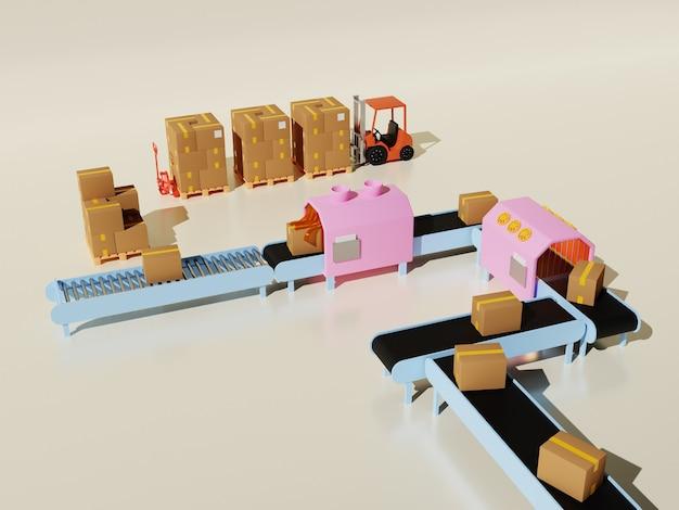 3d иллюстрации концепции процесса упаковки товаров