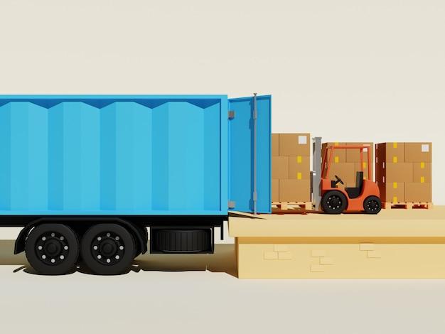 Концепция 3d иллюстрации погрузочного контейнера с вилочным погрузчиком