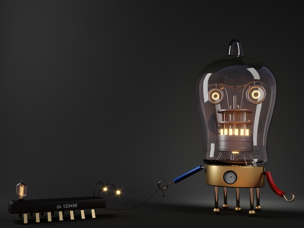 3dイラスト。散歩用のペットの犬と一緒にチューブロボットのコンセプトレンダリング。スチームパンクなランプ。
