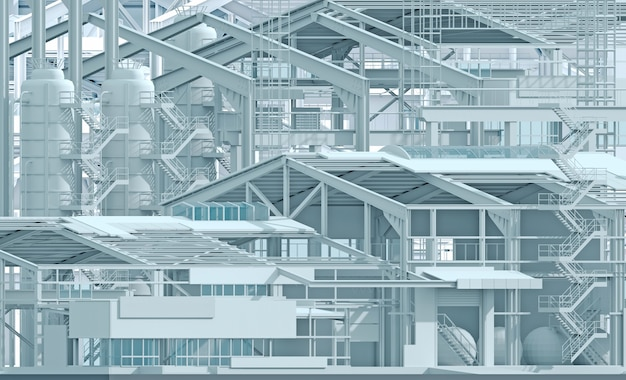 3d illustration. conceptual background construction factory industry and wireframe. layout of the plant. project company. business construction industry