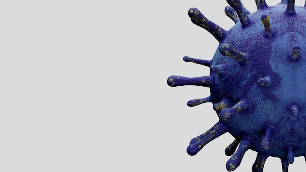 3d 그림입니다. 코로나바이러스 2019 ncov 개념은 아시아 독감 발병 및 코로나바이러스 인플루엔자에 대해 전염병으로서 위험한 독감 변종 사례입니다. 현미경 바이러스 covid19가 닫힙니다.
