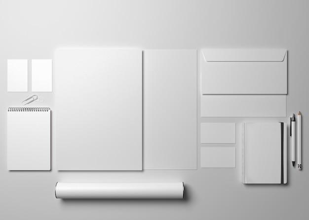 3dイラスト。コーポレートアイデンティティ。ステーショナリーブランディングセットのモックアップ。