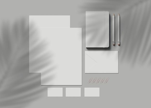 3d illustration. corporate identity. stationary branding set mockup.