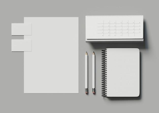 3d illustration. corporate identity. stationary branding set mockup. Premium Photo