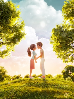 3d illustration of a couple in love looking to each other and kissing in park