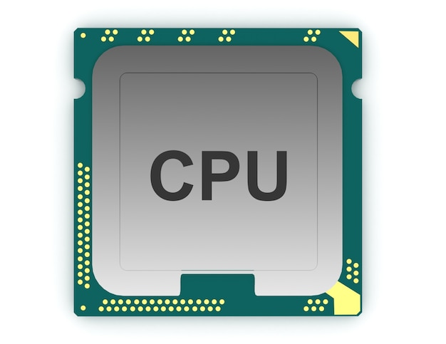 3d illustration cpu chip, central processor unit on white background.