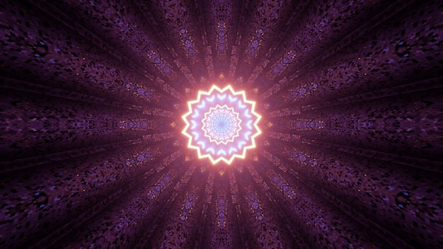 3d illustration of creative ornamental pattern with glowing multifaceted star shaped abstraction in dark tunnel