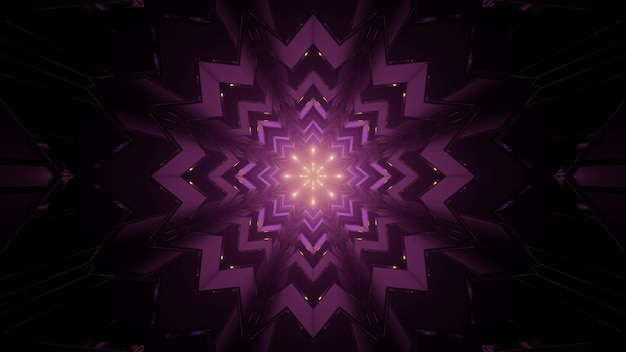 3d illustration of creative snowflake shaped kaleidoscope pattern with glowing lights in dark tunnel as abstract background