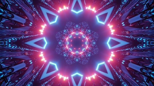 3d illustration of creative tunnel with neon illumination