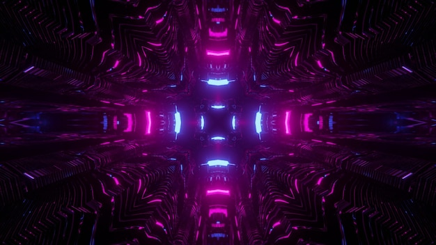 3d illustration of curvy neon purple lines in dark space as abstract kaleidoscope