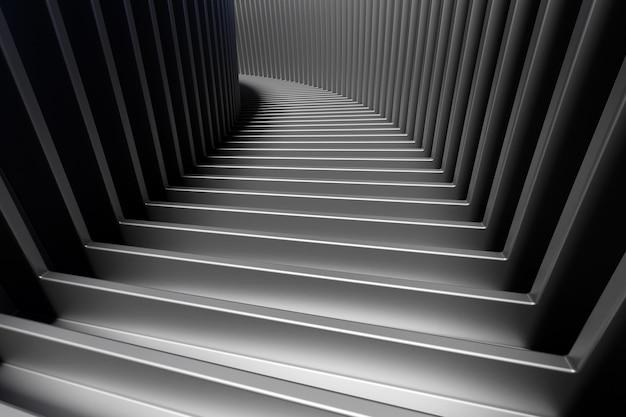 3dイラスト暗い上り階段が下ります。ビジネスの成長、進歩と達成の創造的な概念