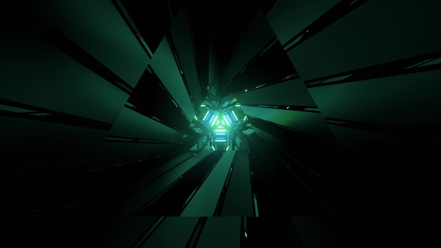 3d illustration of dark cyberspace with abstract green sharp geometric figures as background