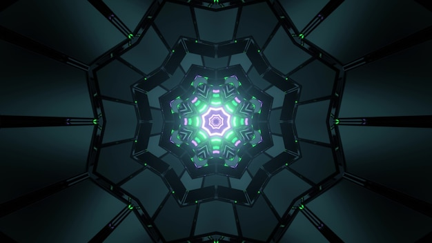 3d illustration of dark labyrinth with symmetric cells and colorful glowing snowflake shaped pattern