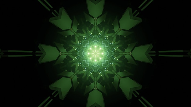 3d illustration of dark tunnel with geometric star snowflake design in green neon illumination for abstract minimalist style futuristic background