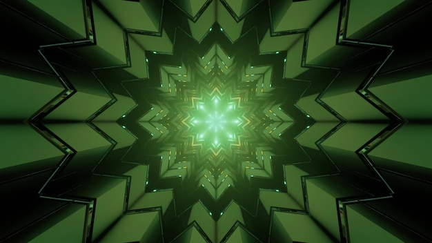 3d illustration of dark tunnel with kaleidoscope snowflake shaped geometric pattern with symmetric rays as abstract background
