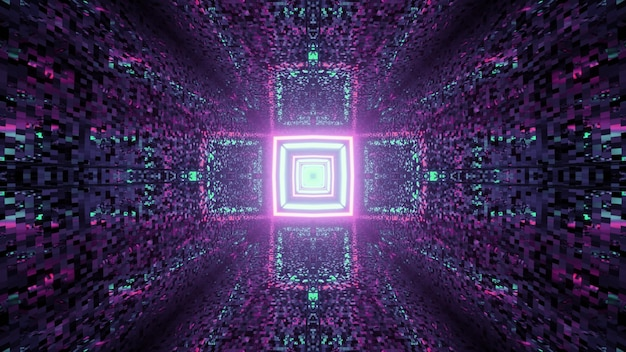 3d illustration of dark tunnel with tiled walls and geometric lines with neon lights forming cross shaped pattern