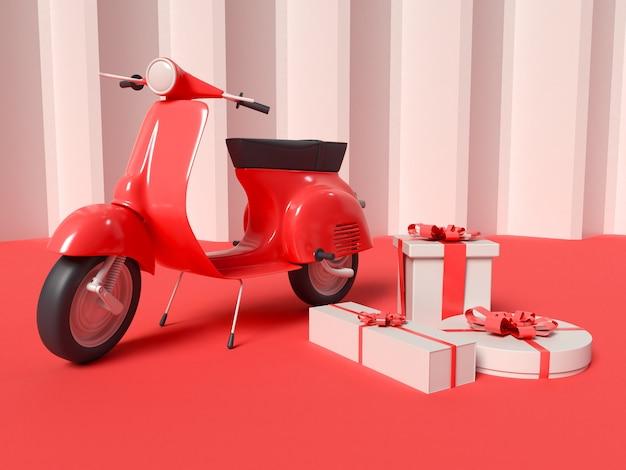 Illustrazione 3d di scooter di consegna con scatole regalo
