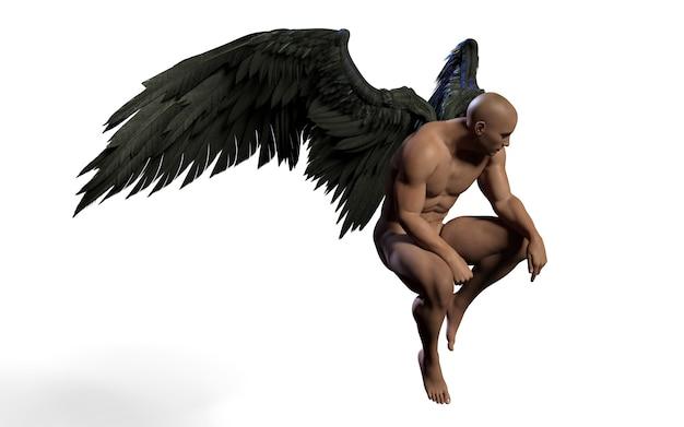 3d 일러스트 악마 날개, 검은 날개 깃털 클리핑와 흰색 배경에 고립