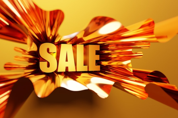3d illustration design of a banner on a  yellow ribbon for mega big sales with the inscription sale.orange