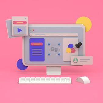 オンラインマーケティングとウェブサイト構築のための3dイラストレーションデザイン