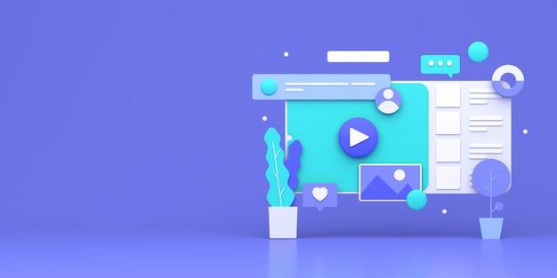 Дизайн 3d-иллюстраций для обложки веб-сайта и интернет-маркетинга
