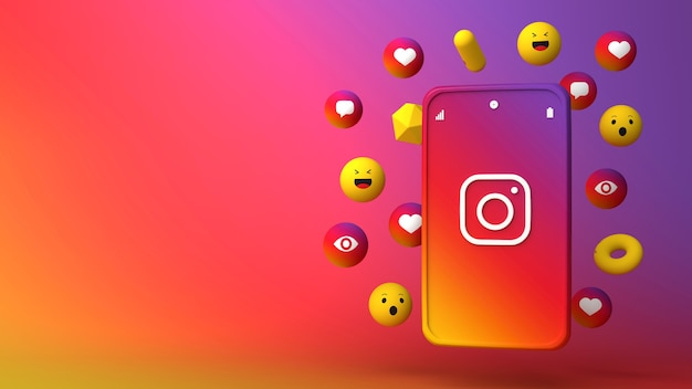 3d illustration design of instagram phone and popping up icons