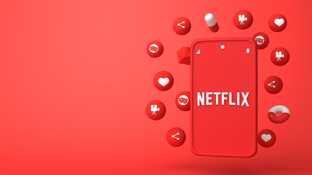 3d illustration design of netflix phone and popping up icons