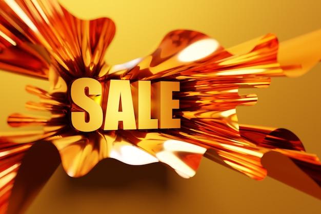 비문 판매와 메가 큰 판매를위한 노란 리본에 배너의 3d 일러스트 디자인. 오렌지