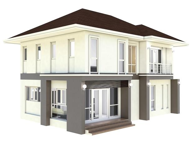 3d illustration design plan home isolated white background