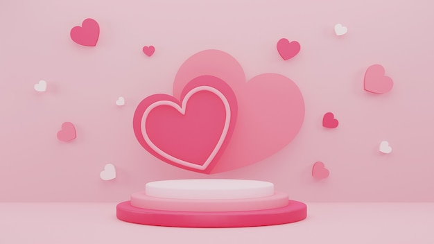 バレンタインデーのディスプレイスタンドとピンクのハートの背景を持つ3dイラストデザイン