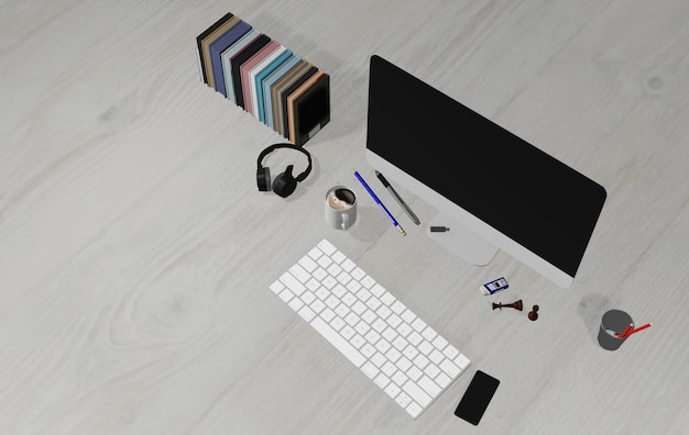 3d illustration, desk, light wood floor, with laptop computer, pen, phone, headphones and supplies, top view with space for laying out, flat, calm at work