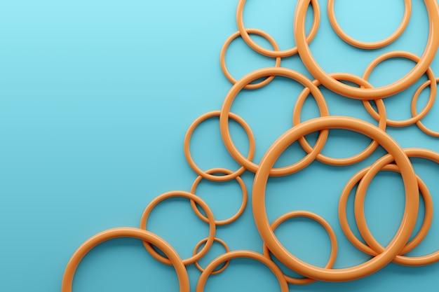 3dイラスト異なる幾何学的な円が同じ距離に配置されています。