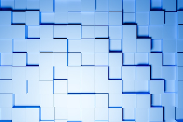 3d illustration of different rows of   blue  squares .set of cubes on monocrome background, pattern. geometry  background