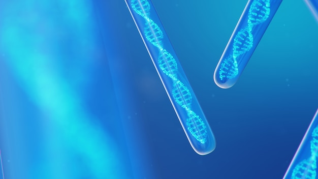 3d 일러스트 dna 분자, 그 구조. 개념 인간 게놈